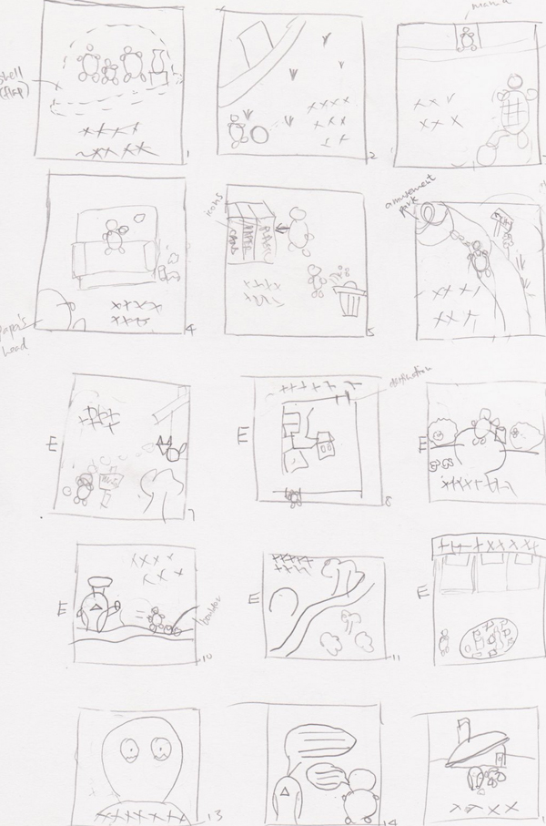 Sketches of the storyboard1